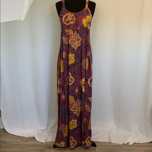 Mossimo Maxi Dress Large Purple Tropical Floral